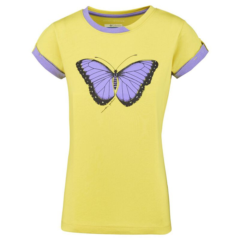 ade215b7 Columbia Girls Lost Trail Short Sleeve T-Shirt (Buttercup/Butterfly)
