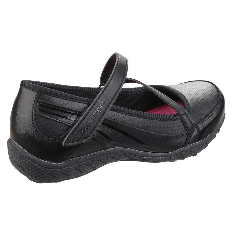 78ffd618ecc3 Skechers Girls Breathe Easy Scholastic Superstar Shoes (Black)