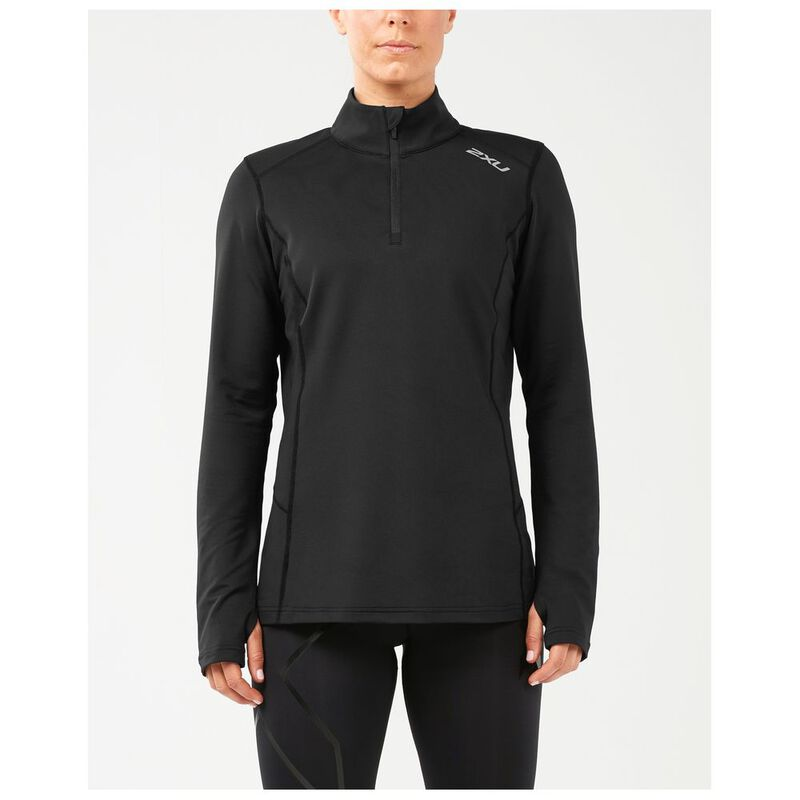 Black 2XU X Vent Half Zip Long Sleeve Mens Running Top
