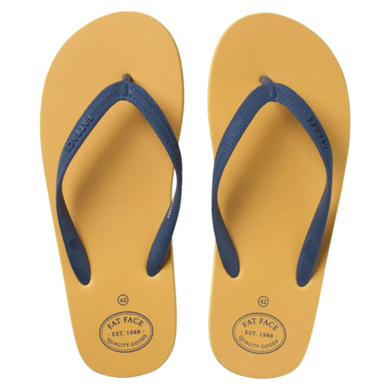 4e3d467f0 Fat Face Mens Henley Flip Flops (Yellow)