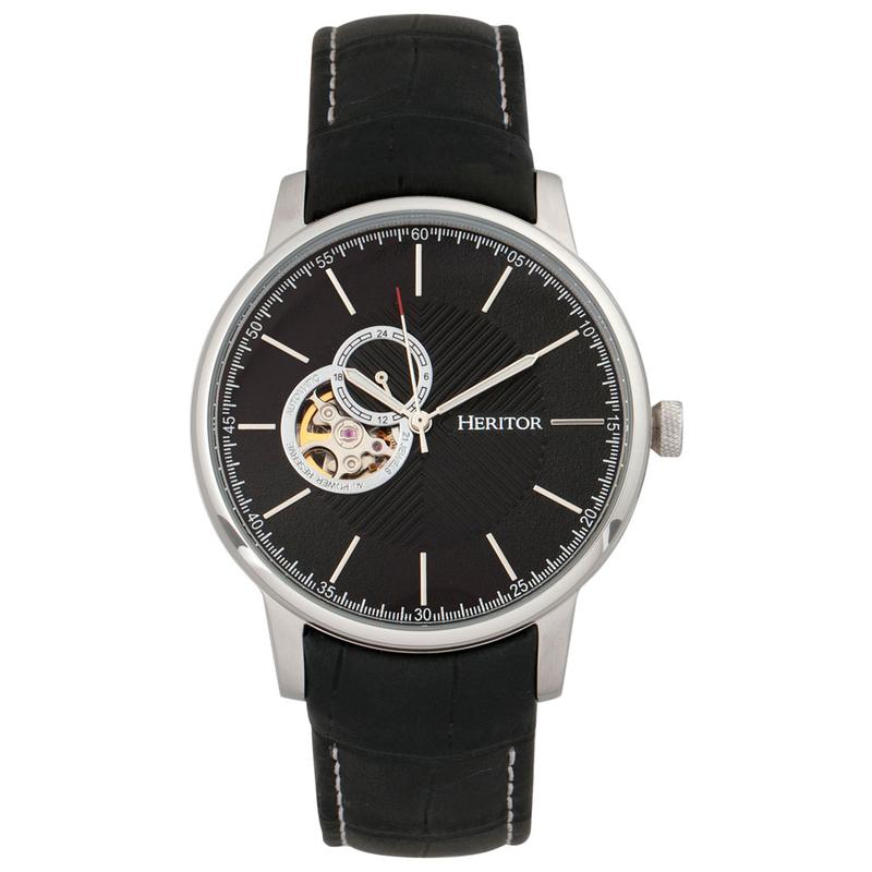 3ae74379a Heritor Mens Landon Watch (Black/Silver/Black) | Sportpursuit.com
