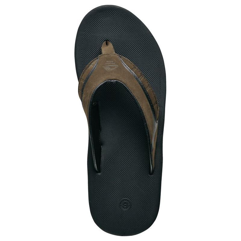 e796be7d2704 Reef Mens Leather Slap II Flip Flops (Brown Plaid)