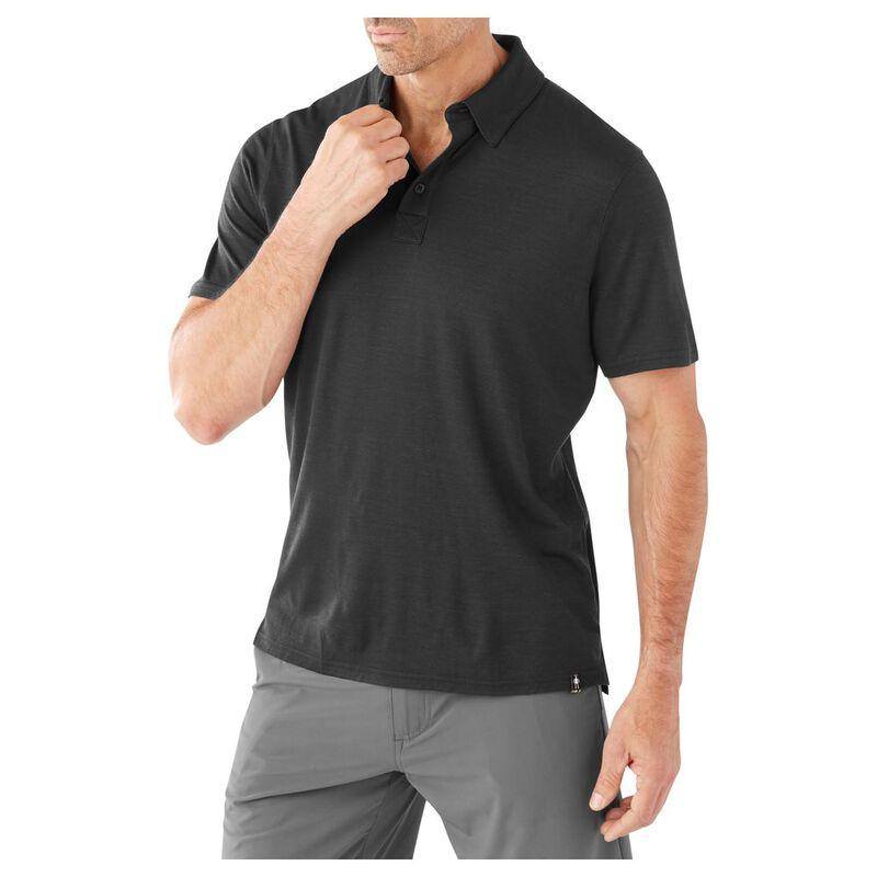 19d58547 Smartwool Mens Merino 150 Short Sleeve Pattern Polo Shirt (Charcoal)
