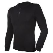 Mens Blackwool Long Sleeve Henley Top (Black)